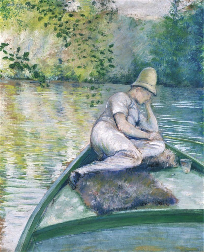 Gustave Caillebotte, 4IE-1879-30, Rivière d'Yerres (Pastel). Compare: 1877, CR79+85, Canotier pêchant sur l'Yerres, pastel + gouache, 82x66, A2014/11/04 (iR11;iR2;R101,no79;R102,no85)