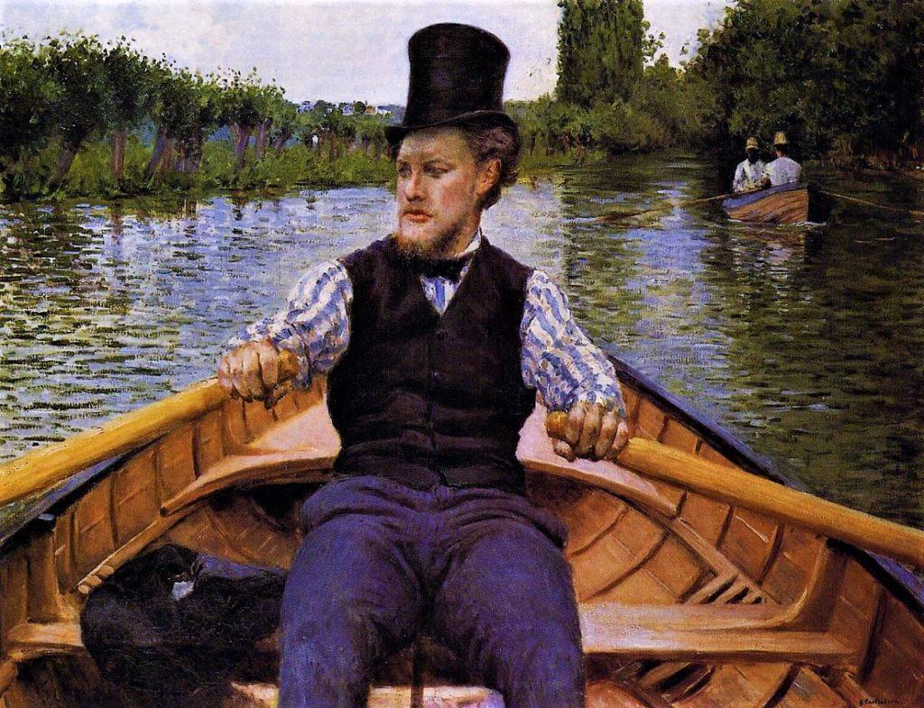 Gustave Caillebotte, 4IE-1879-8, Partie de bateau. Now: 1877, CR93+122, Boating Party (Canotier au chapeau haut de forme), 90x117, private Paris (iR2;R2,p266;R90II,p105+122;R101,no93;R102,no122+p282;R41,p89).