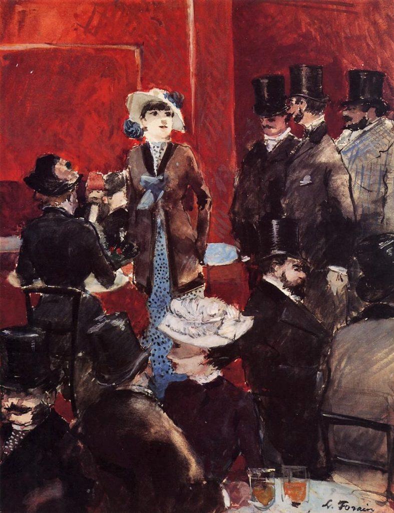 Jean-Louis Forain, 4IE-1879-86, Intérieur de café (aquarelle). Perhaps: 1879ca, At the Cafe, gouache, 33x26, (former: Wisselingh Naarden) DGG Memphis (iR2;iR8;R2,p268+282;M160)