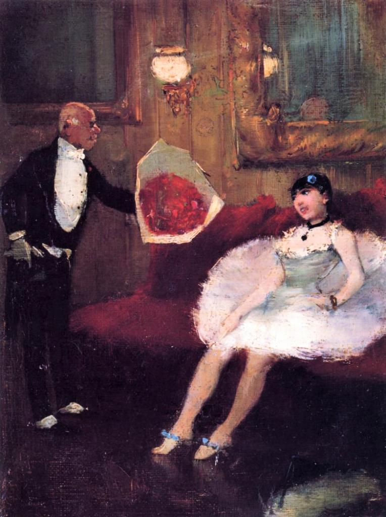 Jean-Louis Forain, 5IE-1880-45, Actrice allant rentrer en scène. Maybe: 1877-79ca, The Admirer, on wood, 15x20, MFA Houston (iR2;iR8;R2,p311;R90I,p276;M163)