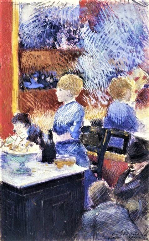 Jean-Louis Forain, 4IE-1879-97, Femme au café (aquarelle). Maybe: 1878ca, The Bar at the Folies-Bergère (Scène de café; à Sari), gouache, 32x20, BM New York (iR6;R50,p96;R43,p16;R2,p268;M161)
