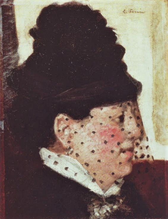 Jean-Louis Forain, 4IE-1879-99 Cabotin en demi-deuil (aquarelle). Compare: 1878-80ca, Head of a Woman with a Veil, oil, 35x28, NSM Pasadena (iR2;R2,p268;M43)