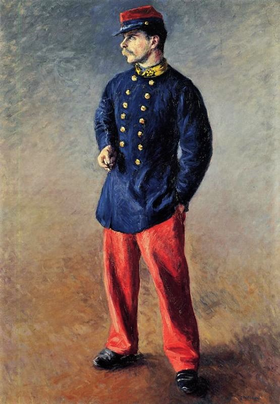 Gustave Caillebotte, 4IE-1879-hc5, un soldat. Probably not exhibited: 1881, CR170+185, a soldier, 106x75, Josefowitz coll Lausanne, (iR2;iR11;R2,p255+275;R41,p10;R101,no170;R102,no185)