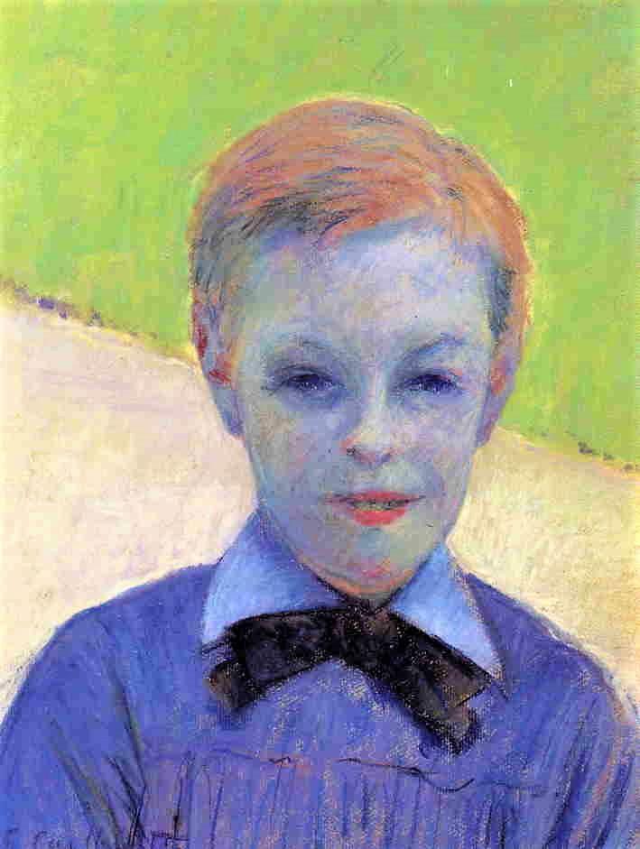 Gustave Caillebotte, 5IE-1880-15, Tête d'enfant (pastel). Now: 1877, CR70/69, Portrait of Camille Daurelle, pastel, 40x32, private (iR2;R2,p310;R90II,p146+160;R101,no70;R102,no69+p283)