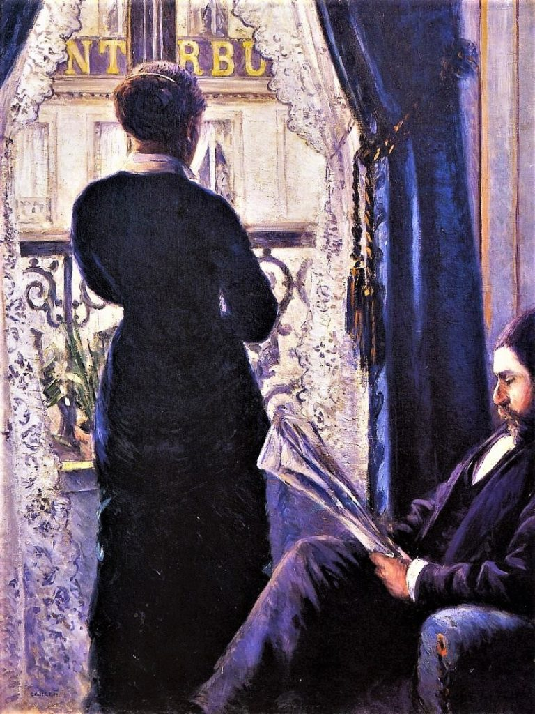 Gustave Caillebotte, 5IE-1880-9, Intérieur. Now: 1880, CR130+140, Interior, woman at the balcony, 116x89, private Paris (iR2;R90II,p146+160;R90I,p306;R101,no130;R102,no140;R2,p319;R41,p62). Also option for DR1886-230.