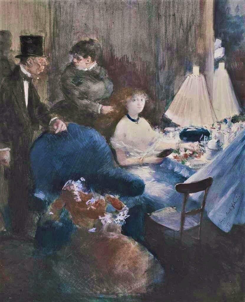 Jean-Louis Forain, 6IE-1881-22, Loge d'actrice. Now: 1880, Visit à la loge (d'actrice), gouache, 28x23, A2011/12/01 (iR11;R2,p354+364;R90II,p181+190)