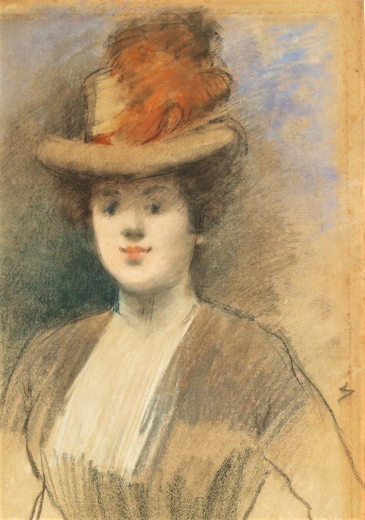 Jean-Louis Forain, 6IE-1881-25, Portrait de Mlle Madeleine C…, pastel. Very uncertain: 1xxx, portrait of a woman (with a red plume hat), pastel, 55x39, A2017/05/11 (iR11;R2,p354)
