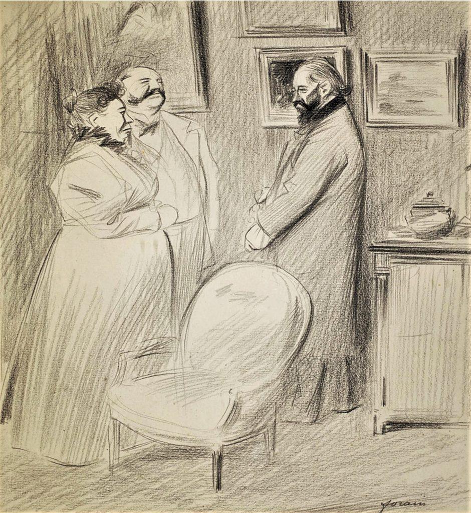 Jean-Louis Forain, 6IE-1881-28, dessin. Very uncertain: 18xx, La visite, pencil, 35x28, A2008/11/19 (iR11;iR14;aR17=iR40)