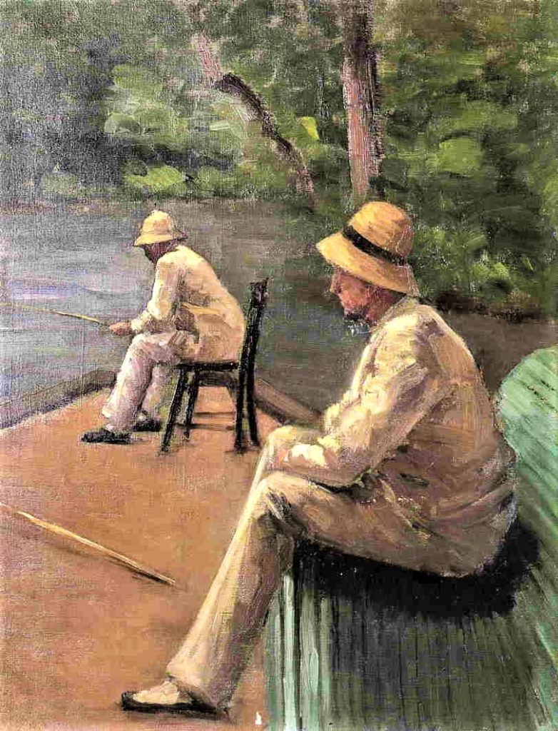 Gustave Caillebotte, 7IE-1882-17, Pêcheur. Now: 1876-78ca, CR36+117, Fishermen on the Banks of the Yerres, 66x50, private (iR2;iR49;R101,no36;R102,no117;R2,p394;R90II,p202+216)