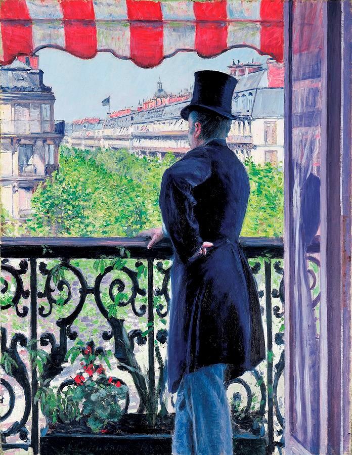 Gustave Caillebotte, 7IE-1882-2, Homme au balcon. Now: 1880, CR139/149, Man on the balcony (Boulevard Haussmann), 117x90, A2000/05/08 (iR3;iR11;iR15;R41,p67;R2,p394;R90II,p201+215;R101,no139;R102,no149+p239)