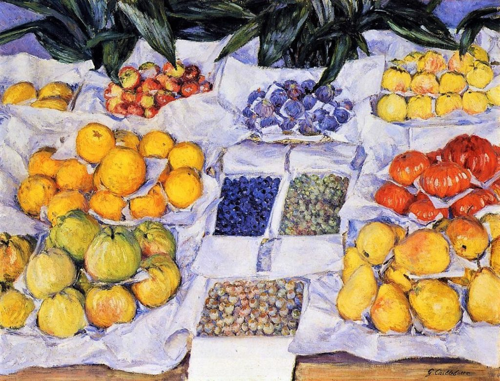 Gustave Caillebotte, 7IE-1882-4, Fruits. Now: 1880-82ca, CR178/193, Fruit Displayed on a Stand, 74x100, MFA Boston (iR2;R2,p374+394;R90II,p201+215;R101,no178;R102,no193+p283;R41,p82)