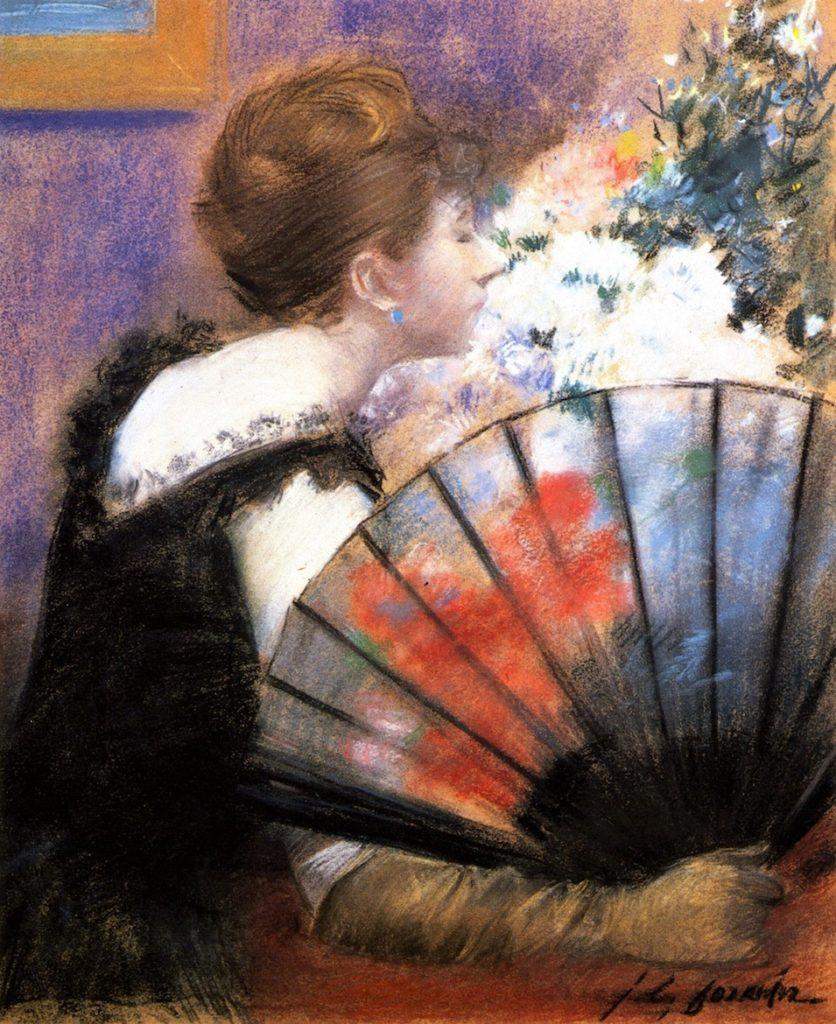 Jean-Louis Forain, 8IE-1886-33, Femme respirant des fleurs. Now: 1883ca, Woman with a Fan, pastel, 90x79, DGG Memphis (iRx;iR59;R2,p444+455;R90II,p241+260;M160)