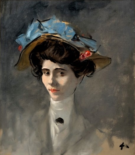 Jean-Louis Forain, 8IE-1886-36, Tête d'étude. Maybe: 18xx, Tête de femme (Young Lady with Hat Decorated with Cherries), 64x53, A2017/10/15 (iR11;iR10;R2,p444;R90I,p428/9)