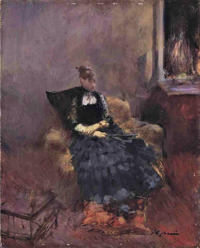 Jean-Louis Forain, 8IE-1886-38, Femme en noir. Maybe?: 18xx, Elégante à la robe noire dans un fauteuil, 46x37, A2016/09/14 (iR11;R2,p444)