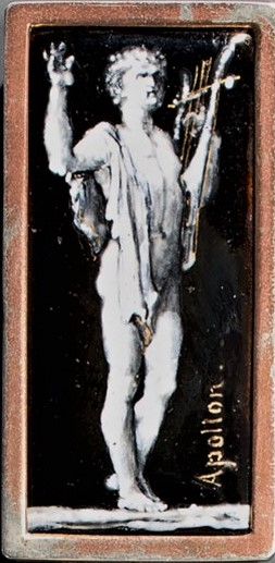 Alfred Meyer: 1860ca, Apollo with Lyre, after Emile Lévy, broche enamel painting , xx, A2016/06/02 (iR81)