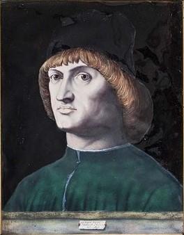 Bernard-Alfred Meyer, 1867, portrait d'homme (after A de Messine), email paint, 46x40, MAD Paris (aR5) Maybe: S1867- 1945, Le Condottiere, d'après Antonello de Messine; émail.