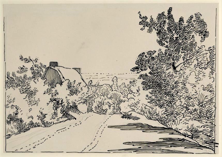 Léopold Levert, 18xx, paysage (Maybe: HD1883/02/26-100, Chemin de Noiseau), dr, 14x18, A2017/03/25 (iR10;aR3;aR2)