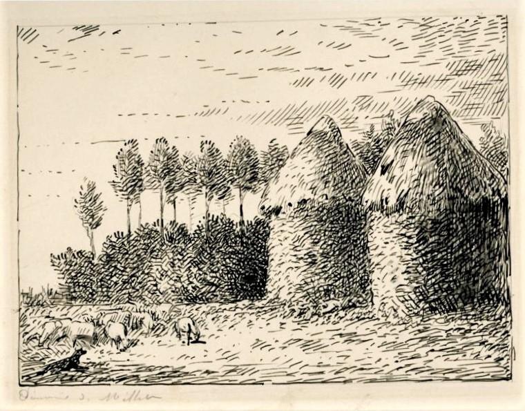 Léopold Levert, 18xx, paysage (Maybe: HD1883/02/26-108, Meule de blé dans la Brie), dr, 14x18, A2017/03/25 (iR10;aR3;aR2)). Compare: Millet, 1873-74ca, Haystacks, autumn, 85x100, Metropolitan (iR6;M23)