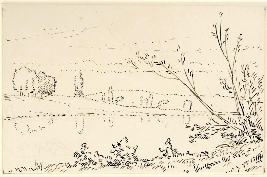 Léopold Levert, 18xx, paysage (options: HD1883/02/26-65, Bords de l'Essonne (Loiret) or -109 de la Marne), dr, 14x18, A2017/03/25 (iR10;aR3;aR2)