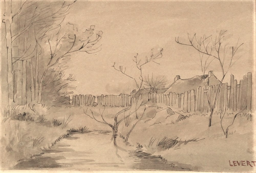 JBL (=Léopold?) Levert: 18xx, untitled landscape, work on paper (HW: view of a village) (compare PA1883-76 or -88 or -101), watercolour + ink wash, 29x35, Axx (iR10;aR2)