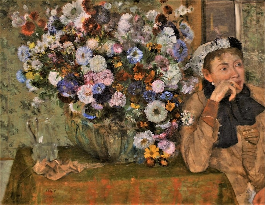 Degas, 1865, CR125, Femme aux chrysanthèmes (A Woman Seated beside a Vase of Flowers; Mme Hertel), 74x93, Metropolitan (iR2;R26,no210;R47,p36). Note the portrait is cut of at the edge.