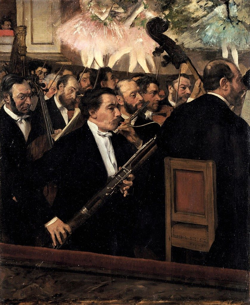 Degas, 1868-69ca, CR186, the orchestra of the Opera, 55x46, Orsay (iR2;R26,no286). Note the use of blacks and browns and the detailed drawing.