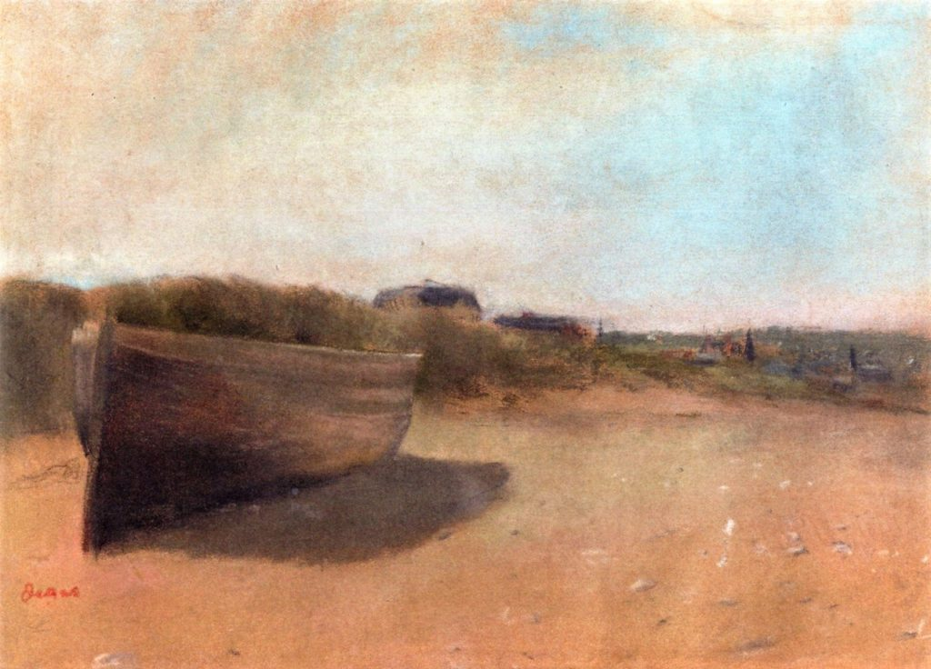 Degas, 1869ca, CR250, beached boats, pastel, 22x31, A2007/05/09 (iR2;iR11;R26,no339). Note: the few landscapes Degas made, he painted in his studio from his memory and imagination.