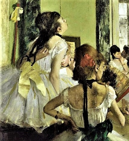 Degas, 1873-6ca, CR341, the ballet class (detail), 85x75, Orsay (iR2;R26,no479). Maybe(?): 3IE-1877-48, Classe de danse. Note: the (unusual) gestures.