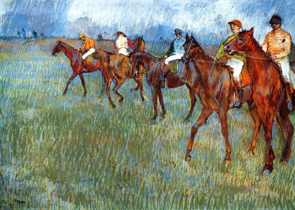 Degas, 1881, CR646, Jockeys in the rain, pastel, 47x65, AGM Glasgow (iR2;R26,no693). Note the juxtaposed brushstrokes and the bright colours.