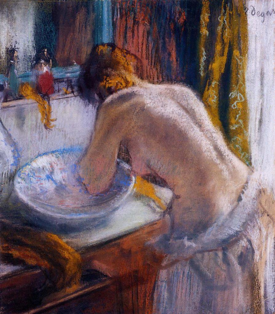 Degas, 1884-92ca, CR966, La Toilette, pastel on monotype, 31x27, private (iR2;R26,no952). Compare: 8IE-1886-19-28, Suite de nues...