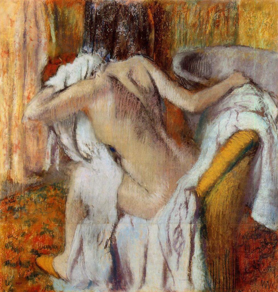 Degas, 1888-92, CR955, After the Bath, Woman Drying Herself, pastel, 104x99, NG London (iR2;R26,no957). Note: the emphasize on gestures.