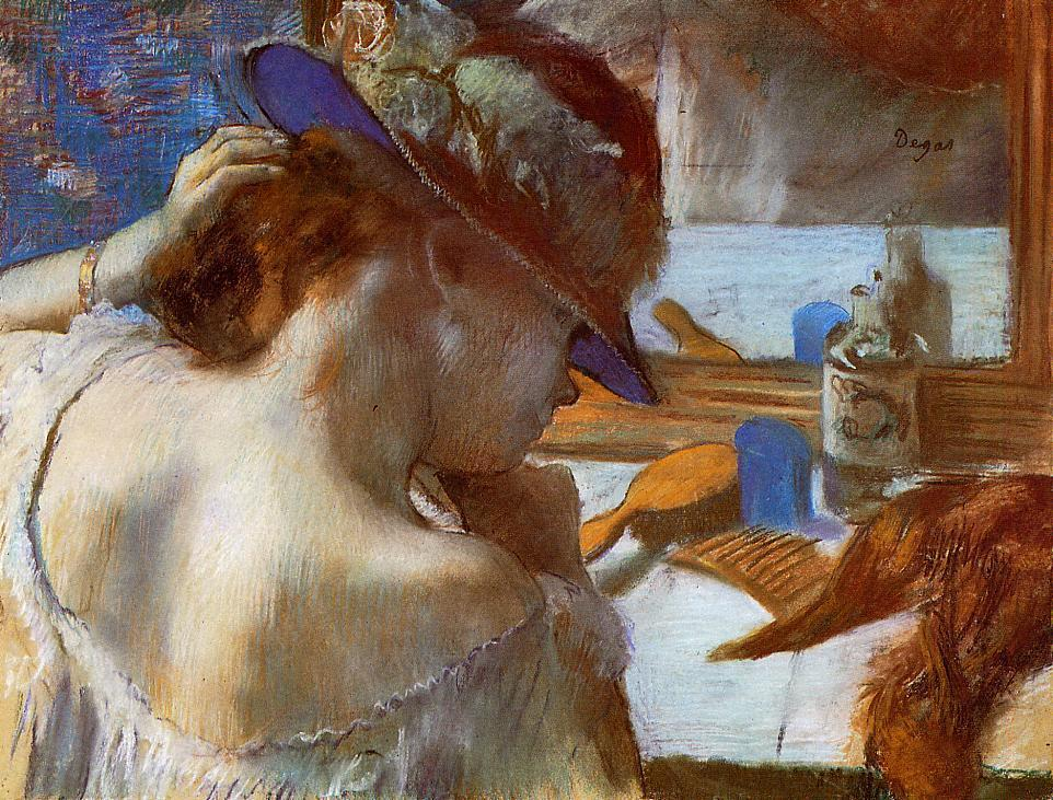 Degas, 1889ca, CR983, Before the mirror, pastel, 49x64, Kh Hamburg, (iR2;Mx;R26,no672). Note the juxtaposed brushstrokes and the light effect.