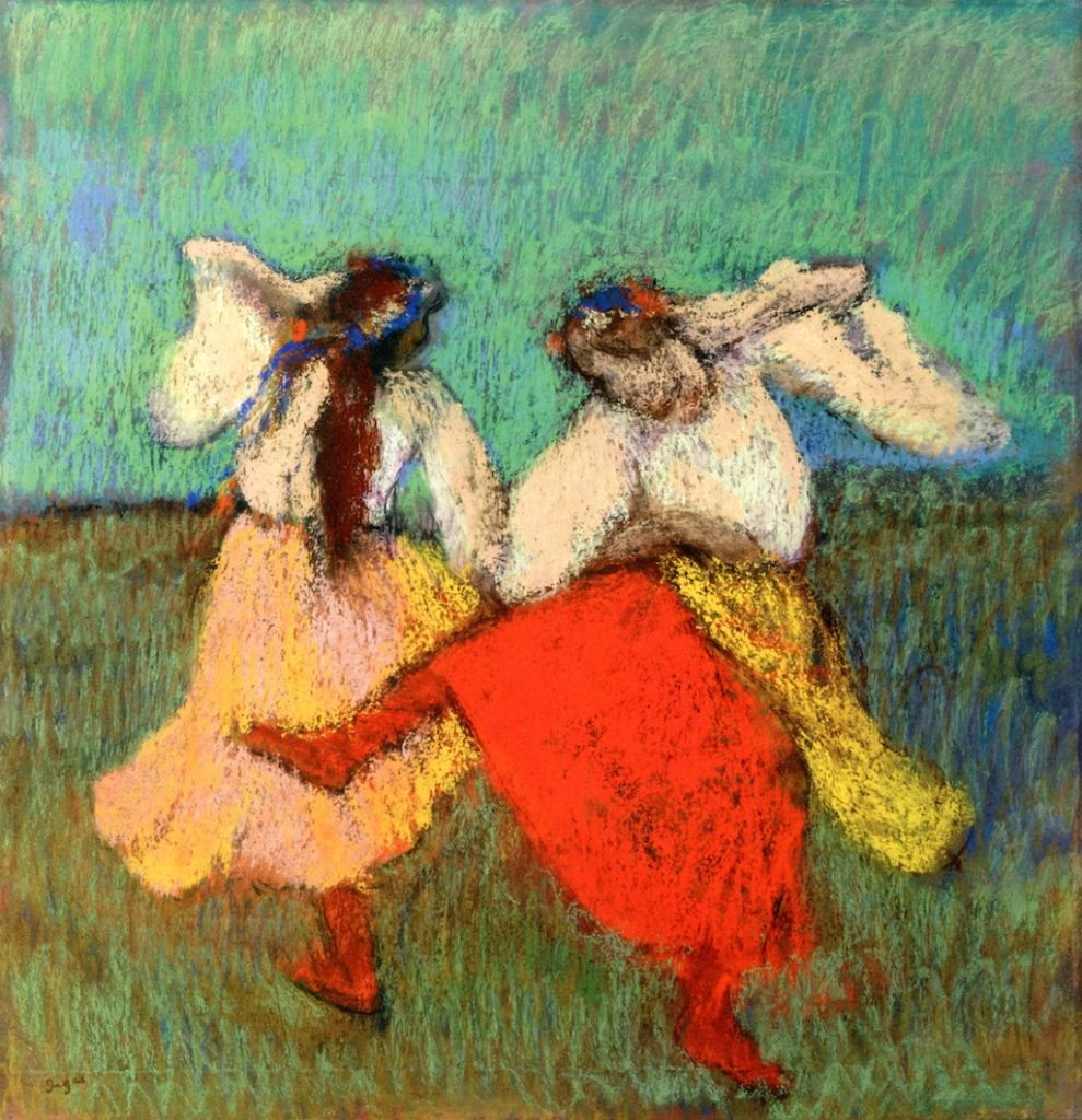Degas, 1895ca, CR1191, Russian dancers, pastel, 63x59, private (iR2;R26,no1083). Note the almost fauvistic use of colour.