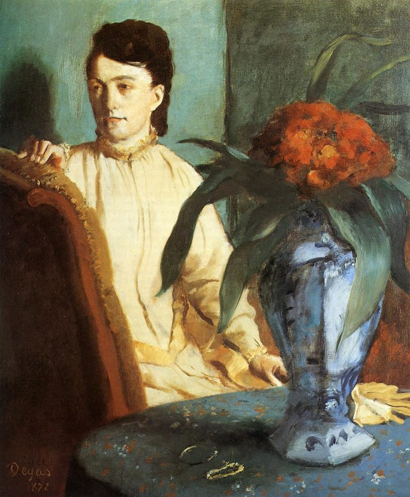 Degas, 2IE-1876-46, Portrait. Maybe(??): 1872, CR305, woman with a vase of flowers, (Estelle Musson, Mme Rene de Gas), 75x54, Orsay (iR2;R26,no341)