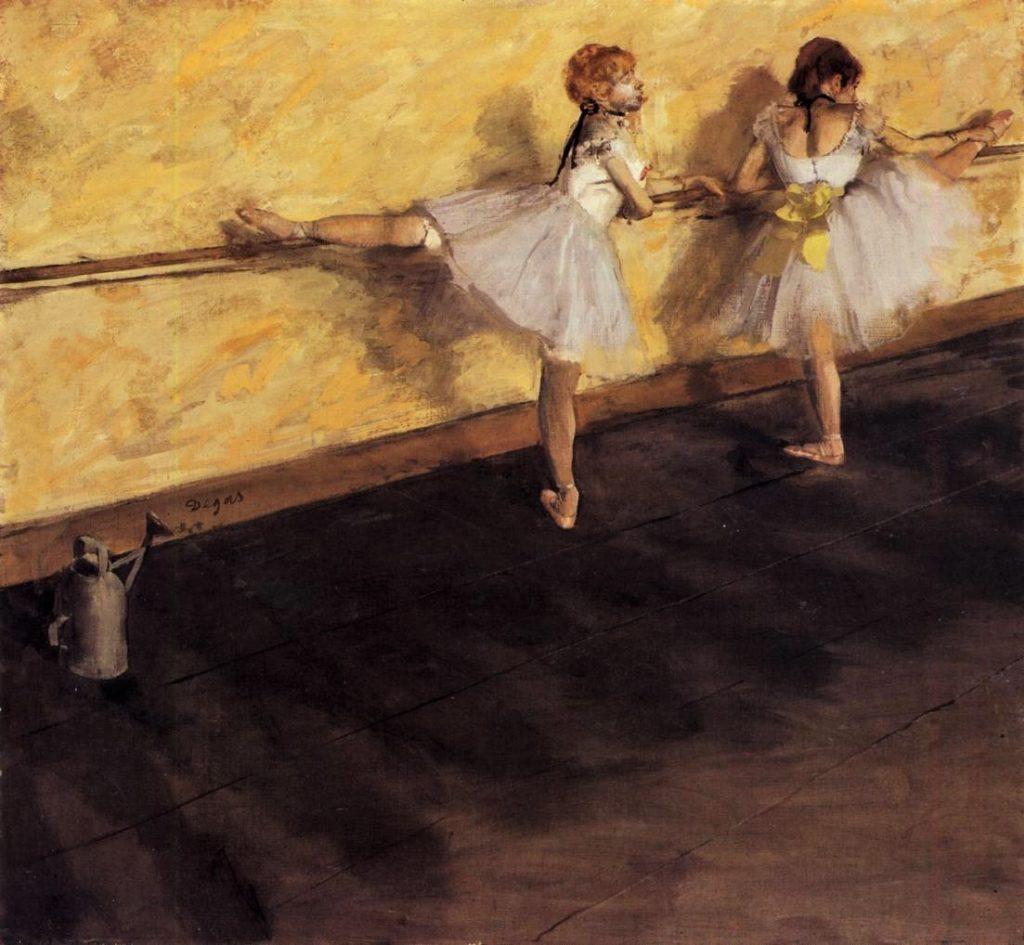 Degas, 3IE-1877-41, Danseuse à la barre. Option 2: 1876-77, CR408, Dancers Practicing at the Barre, thinned oil, 75x80, Metropolitan (iR2;iR59;R26,no497). Rouart collection (R45).