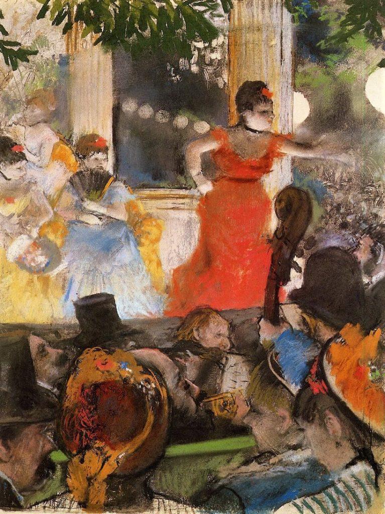 Degas, 3IE-1877-44, Café-concert. Perhaps: 1875-77ca, CR405, Café Concert at ´Les Ambassadeurs´, pastel on monotype, 37x27, MBA Lyon (iR2;iR59;R26,no413;R2,p204). Note the effect of light and the low perspective.