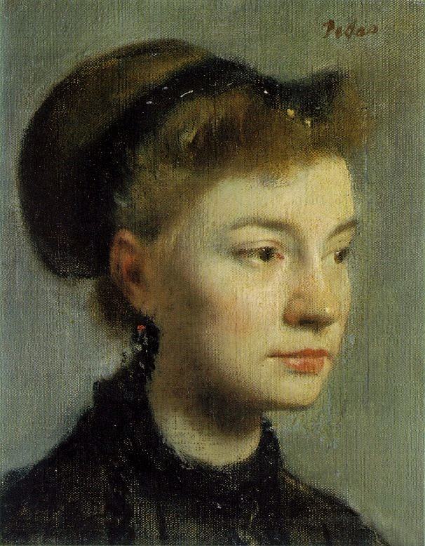 Degas, 3IE-1877-53, portrait. Now: CR163, 1867, Portrait of a young woman (Rose Adelaide Aurore de Gas, Ducess Morbelli de Sancto Angelo), 27x22, Orsay (iR2;R2,p219). Note the rendering of the character.