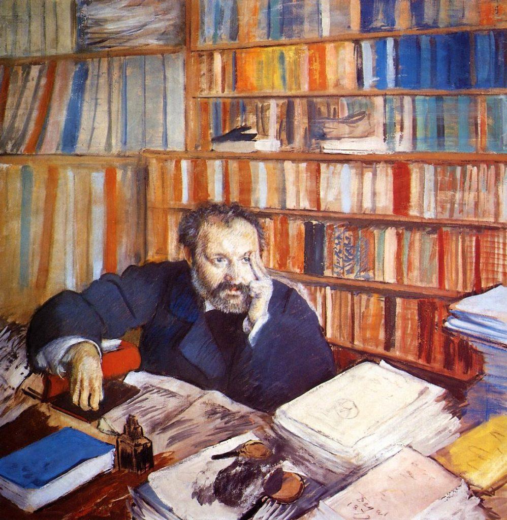 Degas, 4IE-1879-58, Portrait de M. Duranty (détrempe). Now: 1879, CR517, Edmond Duranty, pastel, 100x100, Glasgow AGM (iR10;iR6;R2,p36). Note: the surroundings represent the character.