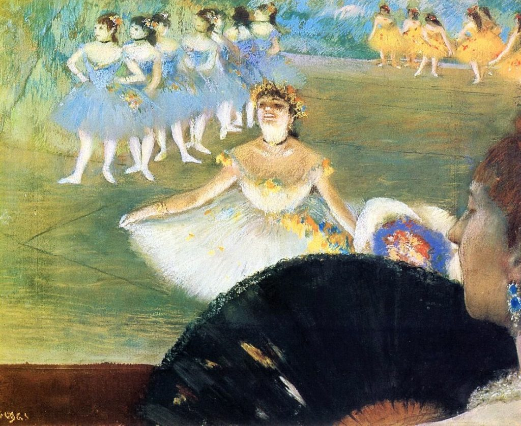 Degas, 1878, CR476, Dancer with a Bouquet of Flowers, pastel, 40x50, Providence RISD (lend by Musée d'Orsay?) (iR2;R26,no509). Option for: 5IE-1880-44+hc1, (no title). Note: the unusual perspective and the effect of light.