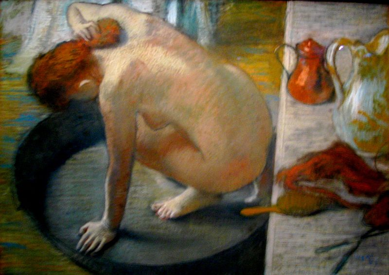 Degas, 1886, CR872, the tub, pastel, 60x83, Orsay (iR6;R26,no920). Option for: 8IE-1886-19-28, Suite de nues… Note the juxtaposed brushstrokes, the effect of light and the double perspective.