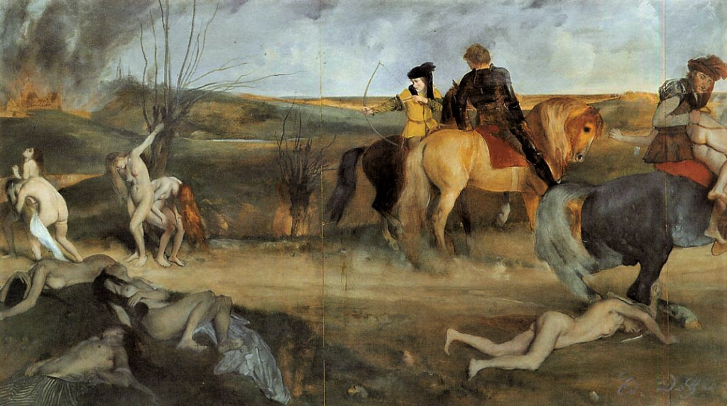 Degas, S1865-2406, Scène de guerre au moyen âge; pastel. Now(!?): Ed. de Gas, 1865, CR124, War Scene from the Middle Ages (The Suffering City of Orléans), 81x147, Orsay (iR2;R26,no107;R47,p35). Note1: the Salon database depicts this work was a pastel; Wikipedia depicts it was made of thinned oil on paper laid on canvas (iR4). Note2: the emphasize on gestures.