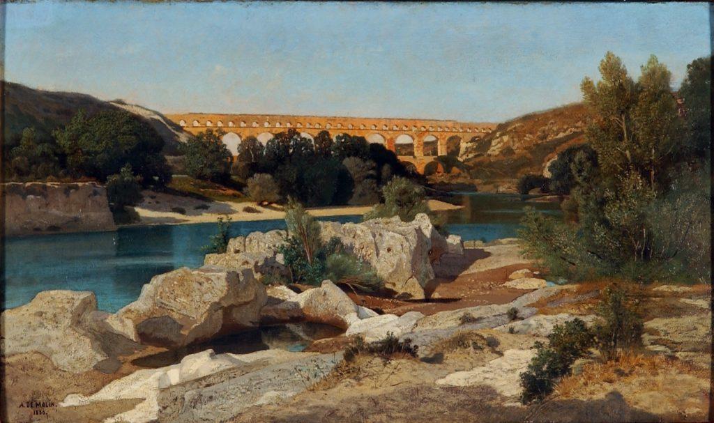 Auguste de Molin, S1850-2229-1, Vue du pont du Gard. Now: 1850, Le pont du Gard, 42x70, MAH Neuchâtel