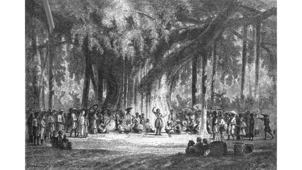Auguste de Molins, 1858-61, Danse de bayadères sous un multipliant aux environs de Boghor, dr. Compare: S1863-1331 Danse de bayadère sous un figuier multipliant (île de Java).