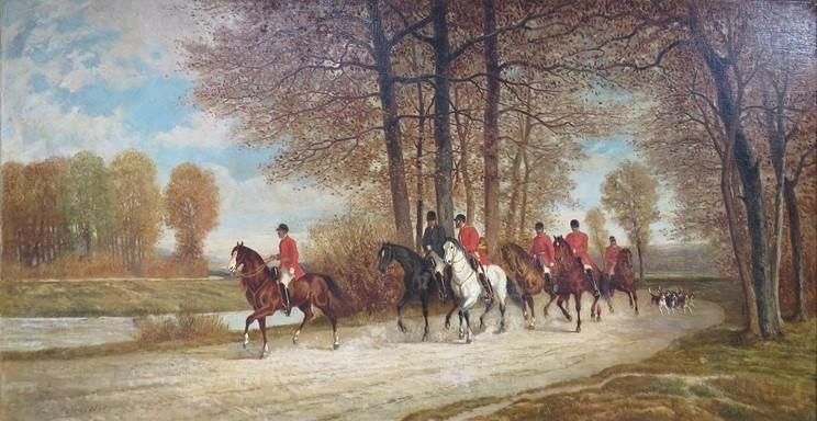 Auguste de Molins, 1867, La Chasse, hunting scene, 61x116, A2014/12/09