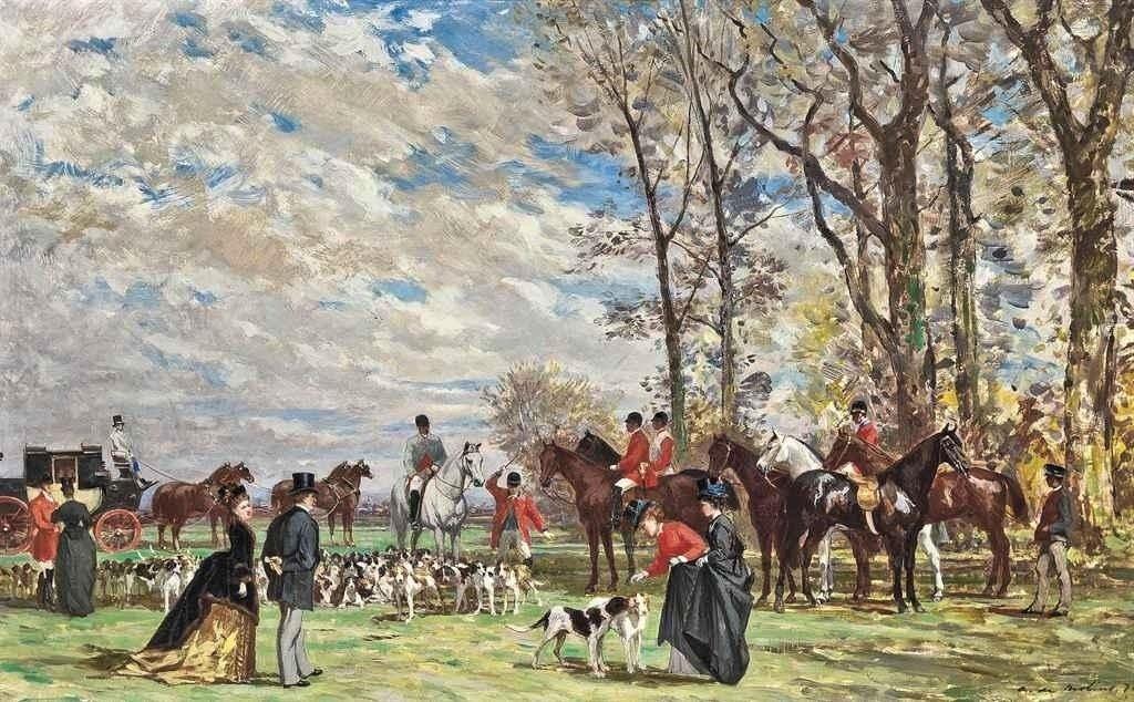 Auguste de Molins, 1874, Chasse à courre, 34x54, A2011/10/26