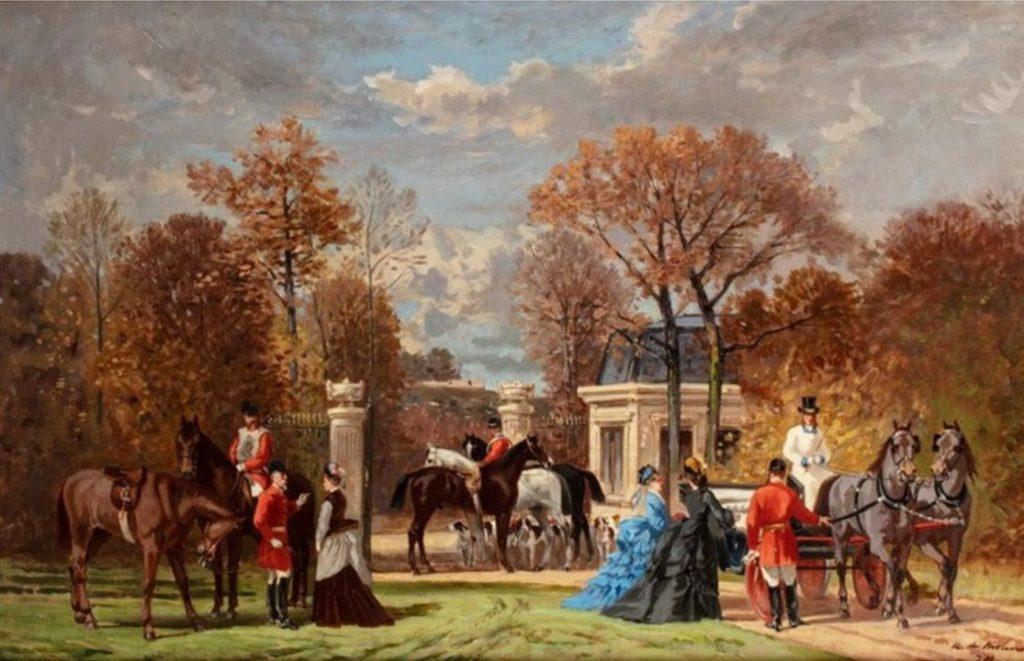 Auguste de Molins, 1874, Elégantes et calèches au départ de la chasse (the start of the hunt), 36x55, A2019/03/20