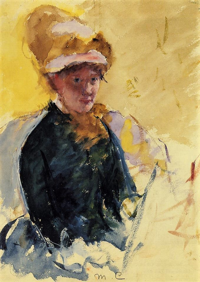 Mary Cassatt, 1880ca, Self-Portrait, wc, 33x24, NPG Washington