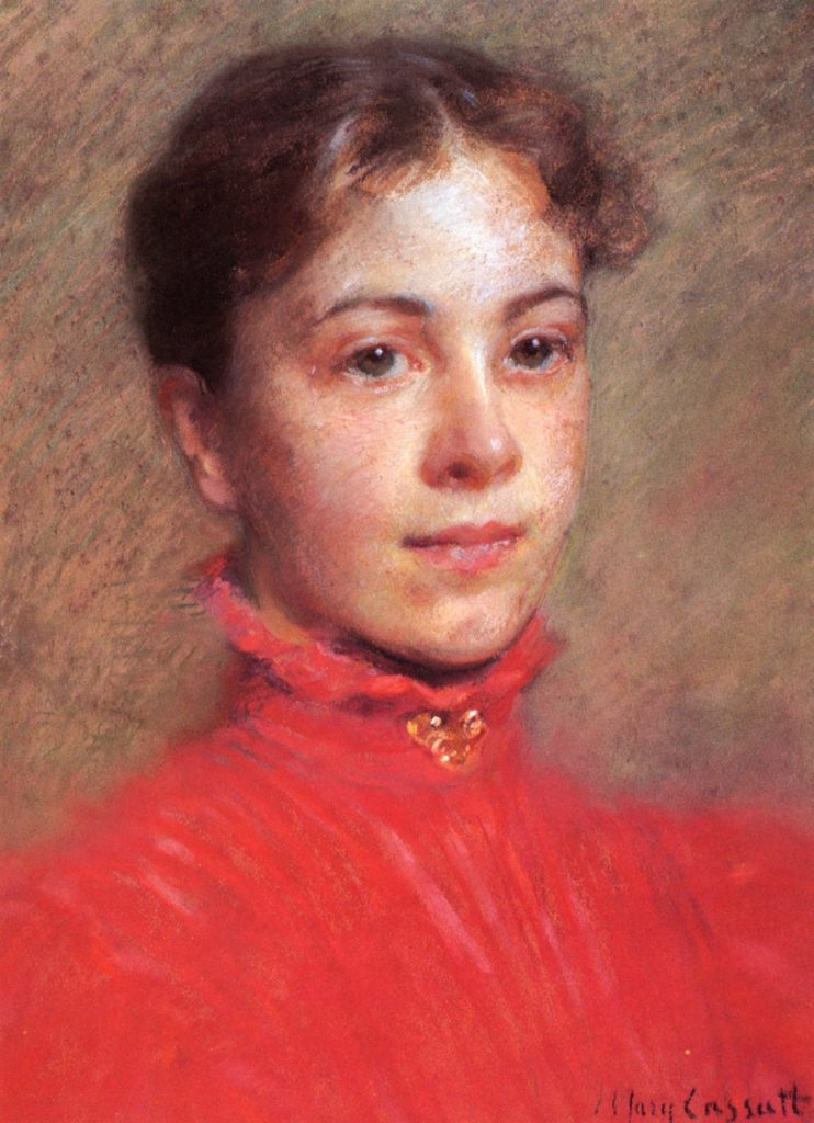 Mary Cassatt, 1882ca, Portrait of a Young Woman in a Red Dress, pastel, 40x30, private