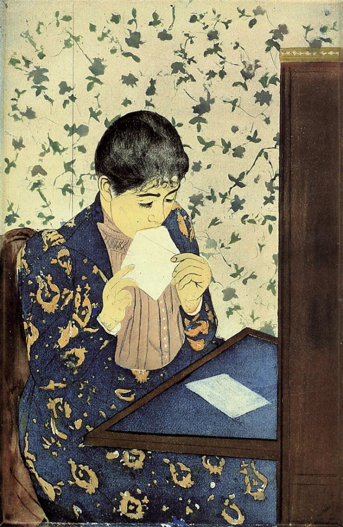 Mary Cassatt, 1890-1, the letter, Drypoint and aquatint, 35x21, NGA Washington