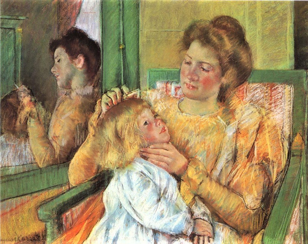 Mary Cassatt, 1898 (or 79), Mother Combing Child's Hair, pastel + gouache, 64x80, BM New York